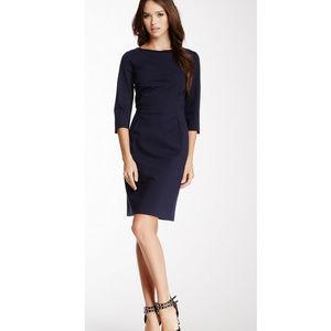 Elie Tahari Navy 3/4 Sleeve Sheath Dress